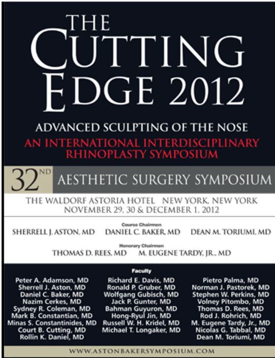The cutting edge aesthetic surgery symposium 2012 advanced sculpting of the nose 65 l